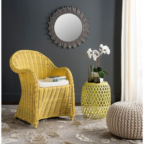 "Safavieh Callista Yellow Rattan Club Chair - 24"" x 26"" x 35"""