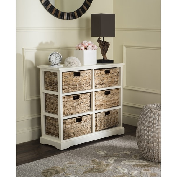 Safavieh Keenan Distressed White 6-Drawer Wicker Basket Storage Chest  sc 1 st  Overstock.com : wicker furniture storage drawers  - Aquiesqueretaro.Com