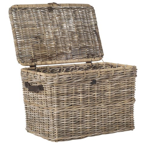 "Safavieh Amancio Grey Natural Rattan Storage Trunk - 35.6"" x 22.4"" x 23.6"""