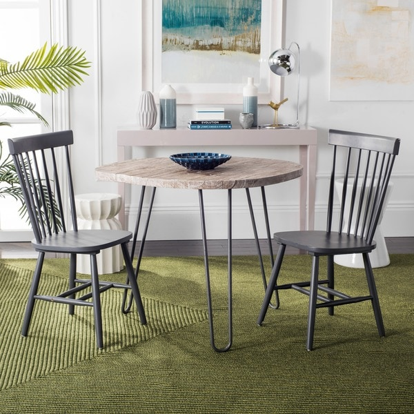 Safavieh Country Classic Dining Parker Charcoal Grey Dining Chairs (Set Of  2)