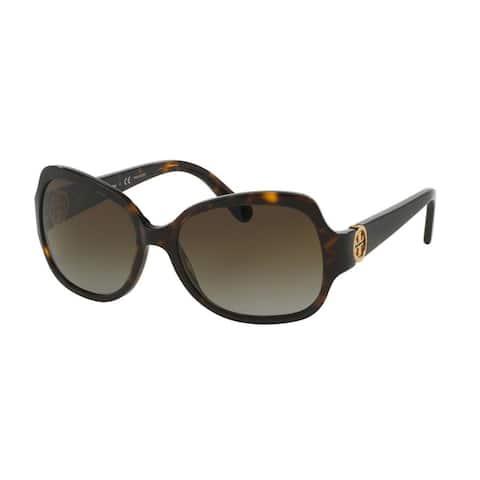 Tory Burch Women's TY7059 1378T5 Tortoise Plastic Square Polarized Sunglasses