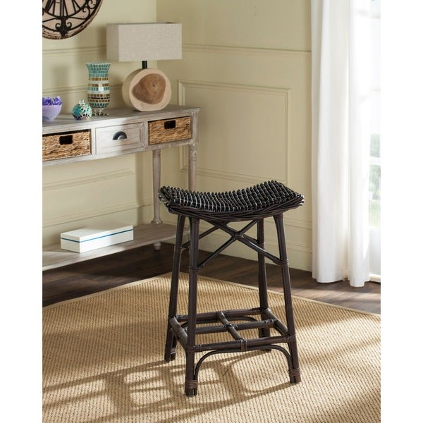 Safavieh Amara Brown Rattan 27 6 Inch Stool Free