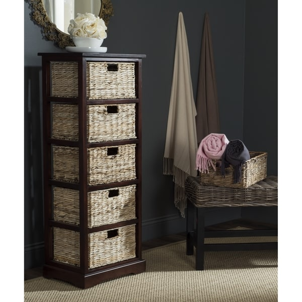 Safavieh Vedette Cherry 5 Drawer Wicker Basket Storage Chest