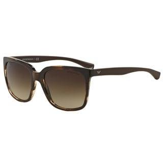 Emporio Armani Women's EA4049 Brown Plastic Square Sunglasses