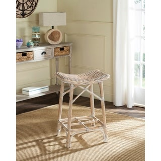 Safavieh Rayna White Washed Rattan 27.6-inch Stool
