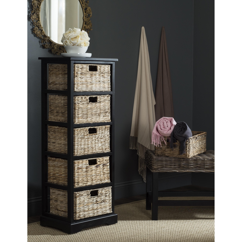Safavieh Vedette Distressed Black 5-drawer Wicker Basket ...