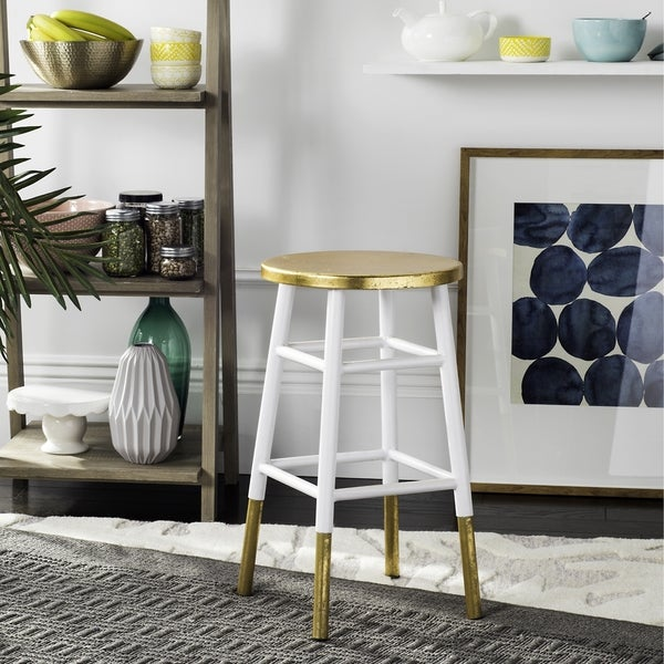 Shop Safavieh 24 Inch Emery White Gold Counter Stool 13