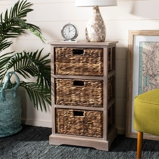 "Safavieh Halle Winter Melody 3-Drawer Wicker Basket Storage Unit - 17.3"" x 13.4"" x 29.5"""
