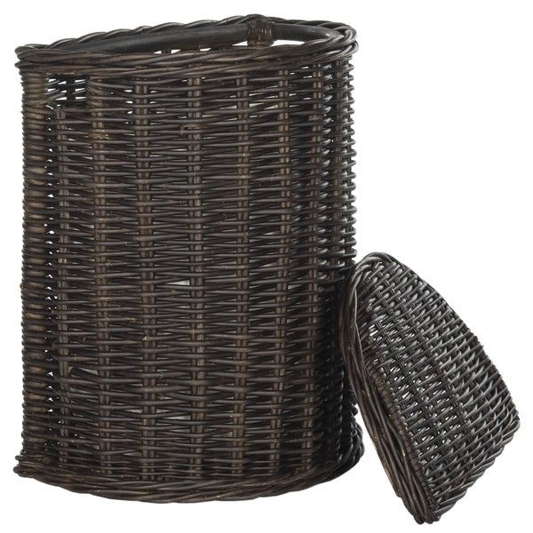 Safavieh manzu natural rattan brown storage hamper with liners free shipping today overstock - Wicker hampers with liners ...