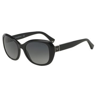Emporio Armani Women's EA4052 Black Plastic Square Polarized Sunglasses