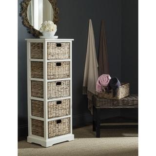 Safavieh Vedette Distressed White 5-drawer Wicker Basket Storage Tower
