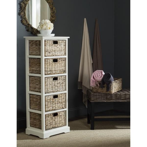Safavieh Vedette Distressed White 5 Drawer Wicker Basket Storage Tower