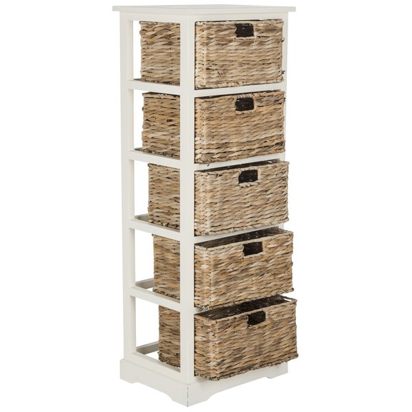 Safavieh Vedette Distressed White 5 Drawer Wicker Basket Storage Tower    Free Shipping Today   Overstock.com   17896625