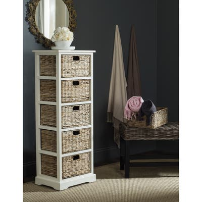 """SAFAVIEH Vedette Distressed White 5-drawer Wicker Basket Storage Tower - 17.3"""" x 13.4"""" x 46.1"""""""