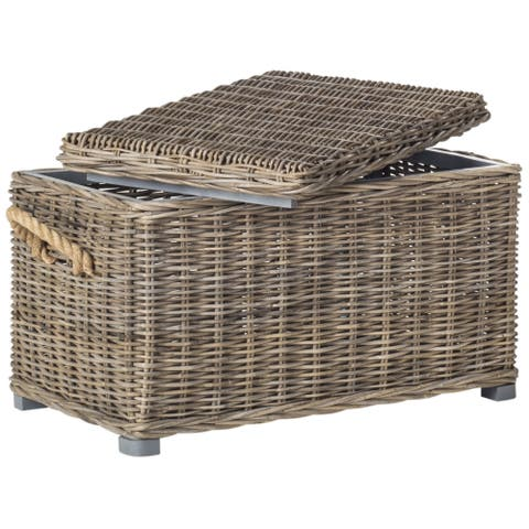 "Safavieh Salim Grey Natural Rattan Storage Trunk - 29.9"" x 18.1"" x 18.7"""