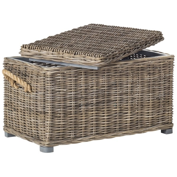 Safavieh Salim Grey Natural Rattan Storage Trunk  sc 1 st  Overstock.com & Shop Safavieh Salim Grey Natural Rattan Storage Trunk - On Sale ...