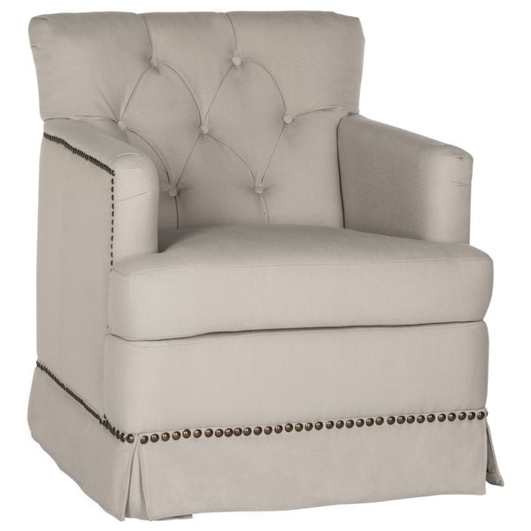 Safavieh Millicent Taupe Linen Swivel Accent Chair Free