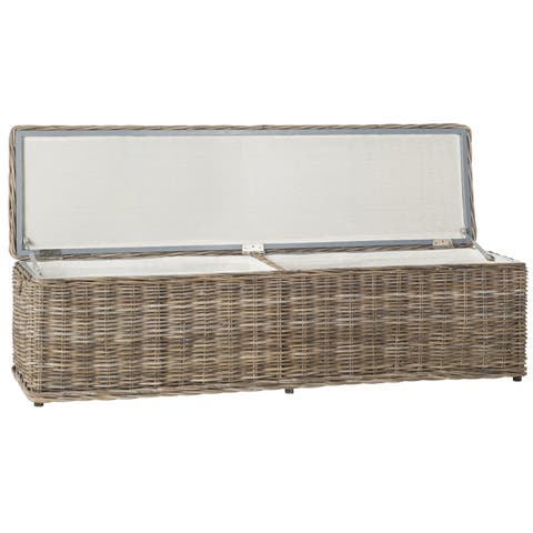 "Safavieh Caius Grey Natural Rattan Storage Trunk - 63"" x 18.1"" x 18.7"""