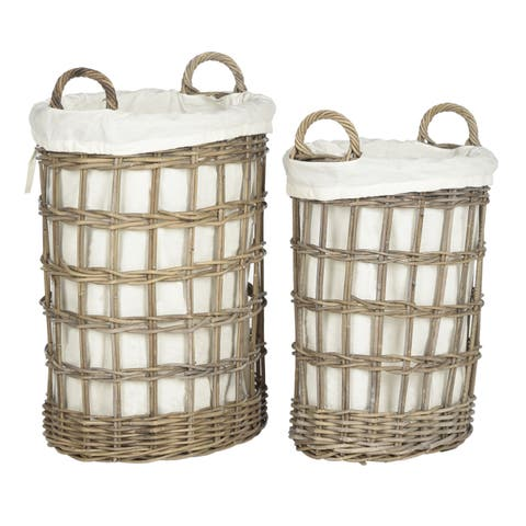 "Safavieh Adisa Natural Rattan Grey Storage Hamper with Liners - 20.5"" x 14"" x 25"""