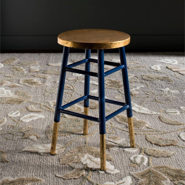 Shop Safavieh 24 Inch Emery Navy Gold Counter Stool