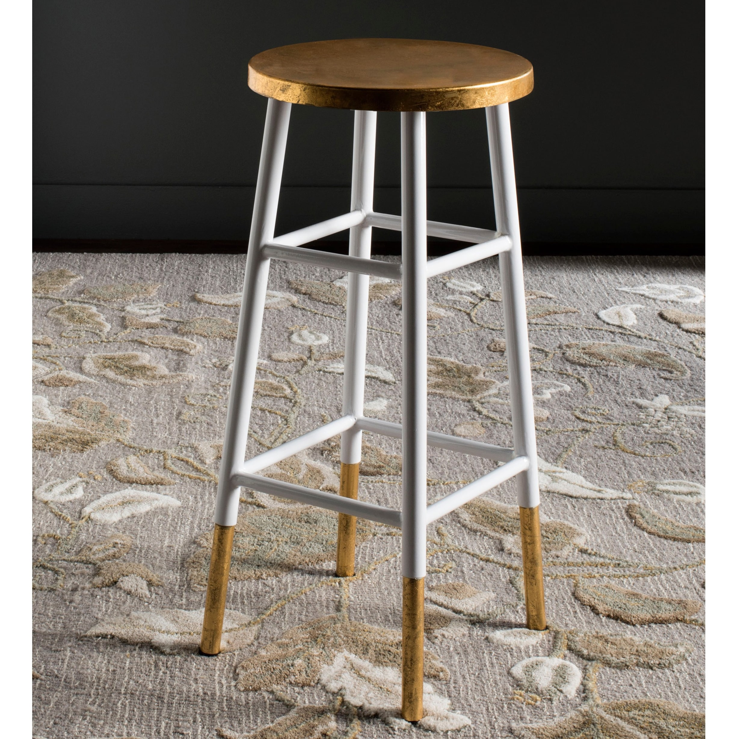 Magnificent Safavieh 30 Inch Emery White Gold Bar Stool 13 5 X 13 5 X 30 Andrewgaddart Wooden Chair Designs For Living Room Andrewgaddartcom