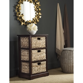"Safavieh Halle Cherry 3 Wicker Basket Storage Unit - 17.3"" x 13.4"" x 29.5"""