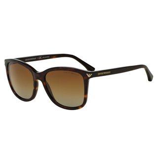 Emporio Armani Women's EA4060 Tortoise Plastic Square Polarized Sunglasses