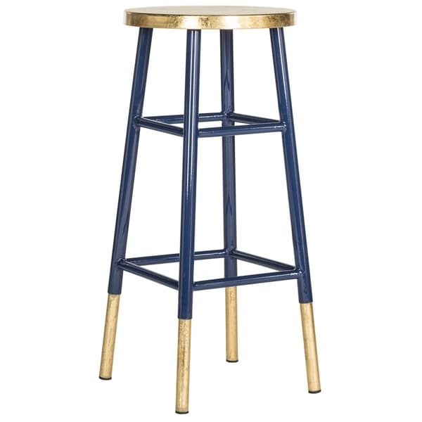 Shop Safavieh 30 Inch Emery Navy Gold Bar Stool Free