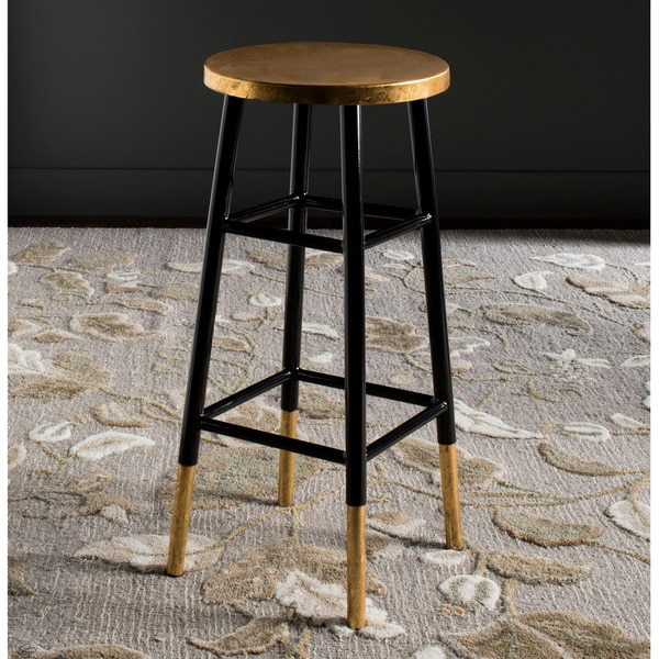 Shop Safavieh 30 Inch Emery Black Gold Bar Stool Free