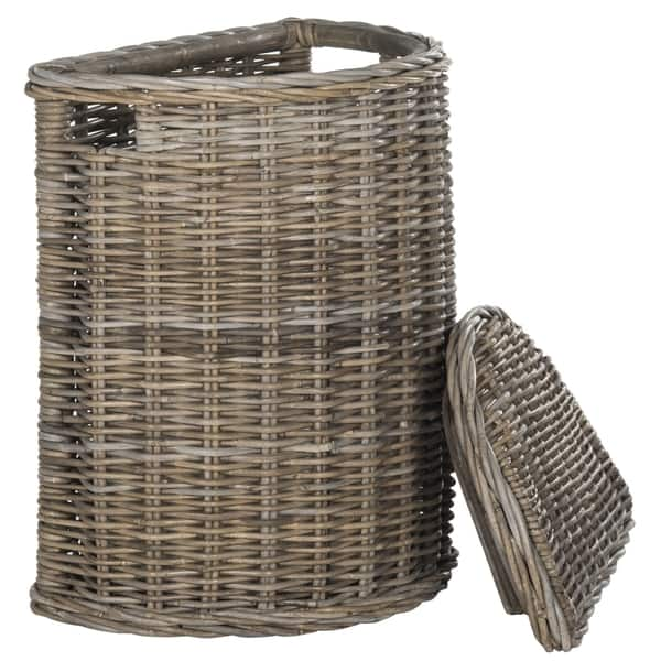Safavieh Damari Natural Rattan Grey Storage Hamper With