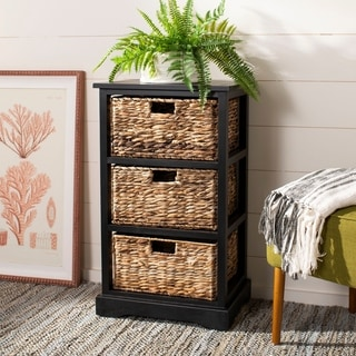 Safavieh Halle Distressed Black 3 Wicker Basket Storage Unit