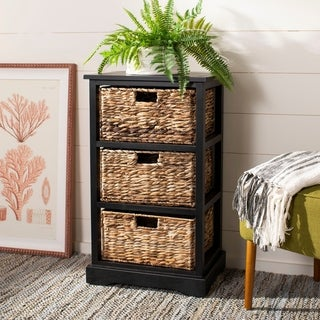 "Safavieh Halle Distressed Black 3 Wicker Basket Storage Unit - 17.3"" x 13.4"" x 29.5"""