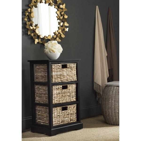 safavieh halle distressed black 3 wicker basket storage unit free shipping today overstock. Black Bedroom Furniture Sets. Home Design Ideas