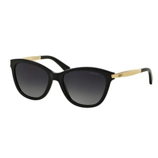 Ralph by Ralph Lauren Women's RA5201 Black Plastic Cat Eye Polarized Sunglasses