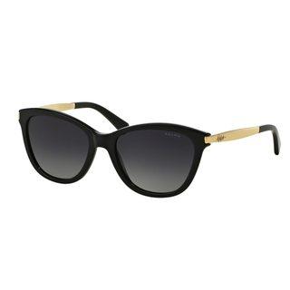 Ralph by Ralph Lauren Women's RA5201 Black Plastic Cat Eye Polarized Sunglasses