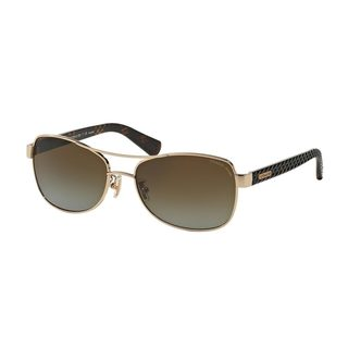 Coach Women's HC7054 9209T5 Gold Metal Pilot Polarized Sunglasses