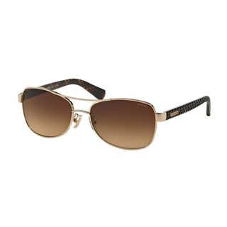 Coach Women's HC7054 920913 Gold Metal Brown Gradient Pilot Sunglasses