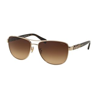 Coach Women's HC7056Q Gold Metal Pilot Sunglasses