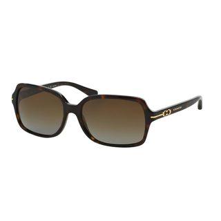 Coach Women's HC8116 Tortoise Plastic Rectangle Polarized Sunglasses