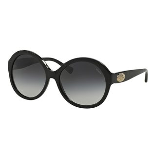 Coach Women's HC8149 Black Plastic Round Sunglasses