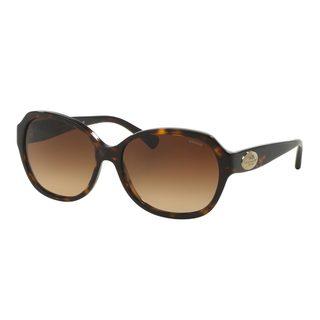 Coach Women's HC8150F Tortoise Plastic Square Sunglasses