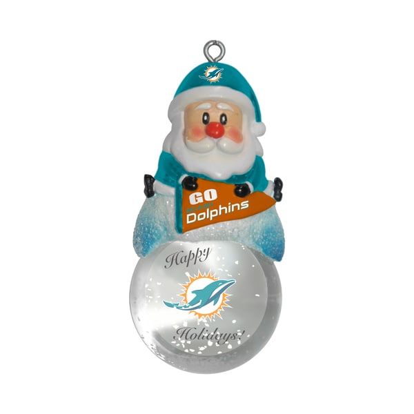 Miami Dolphins Santa Snow Globe Ornament