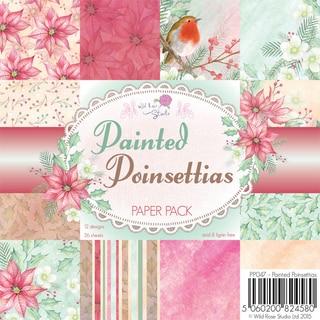 """Wild Rose Studio Ltd. Paper Pack 6""""X6"""" 36/Pkg-Painted Poinsettias"""