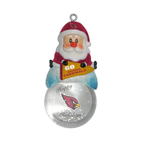 Arizona Cardinals Santa Snow Globe Ornament