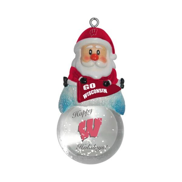 Wisconsin Badgers Santa Snow Globe Ornament