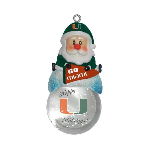 Miami Hurricanes Santa Snow Globe Ornament