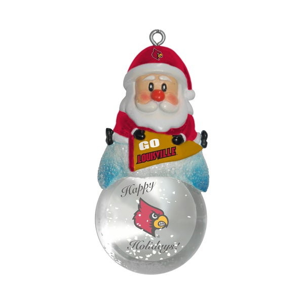Louisville Cardinals Santa Snow Globe Ornament