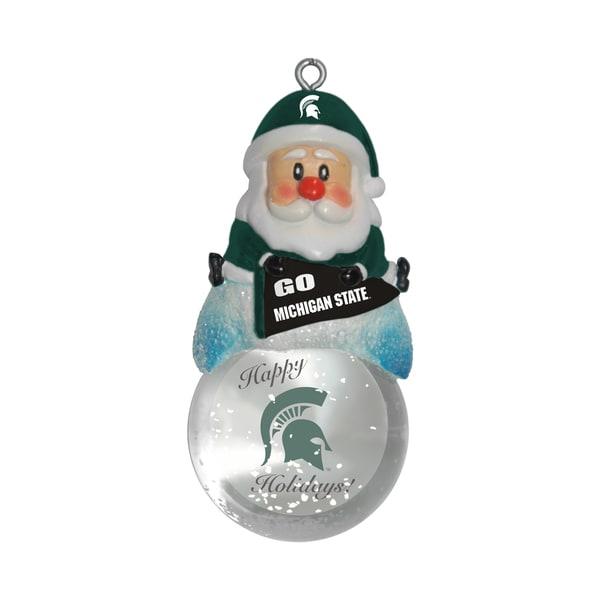 Michigan State Spartans Santa Snow Globe Ornament