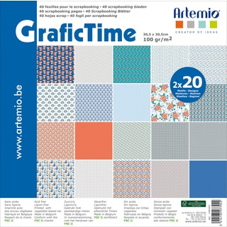 "Artemio GraficTime Papers 12""x12"" 40/Pkg-2 Each Of 40 Designs"