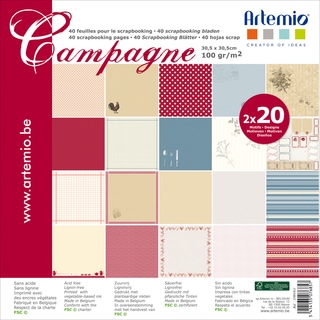 "Artemio Campagne Papers 12""X12"" 40/Pkg-2 Each Of 20 Designs"
